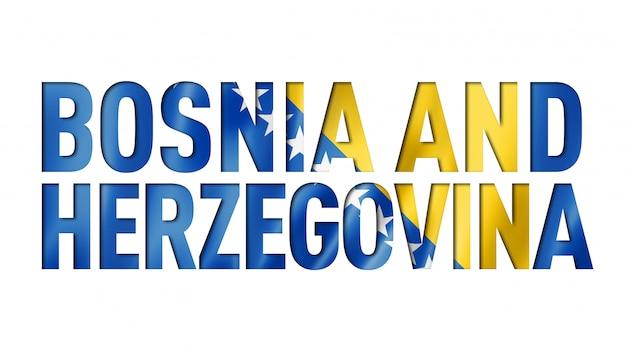 Police de texte du drapeau de la bosnie-herzégovine