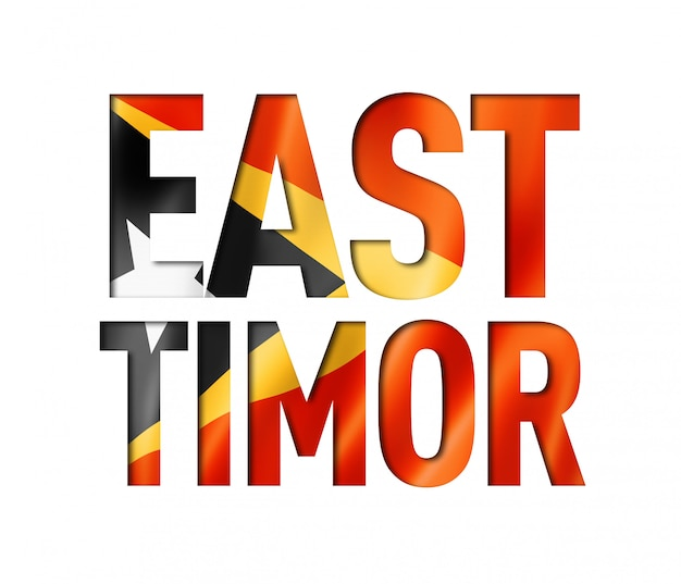Police de texte du drapeau du timor oriental