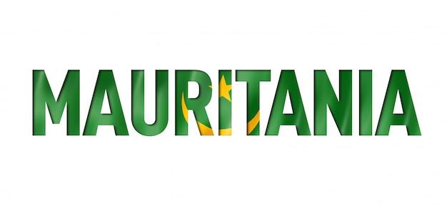 Police de texte du drapeau de la mauritanie