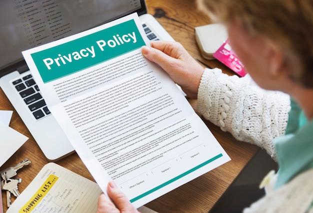 Politique de confidentialité documents de service conditions d'utilisation concept