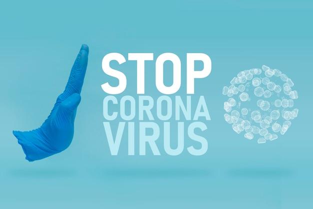 Pollution de l'air, virus, concept de coronavirus pandémique. arrêtez de diffuser les concepts de covid-19 ou de coronavirus. il est temps de rester à la maison pendant la propagation de l'infection virale.