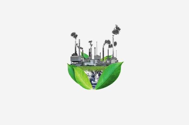 Pollution et réchauffement climatique concept, isolé sur fond blanc. des éléments de cette image sont fournis par la nasa
