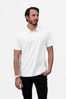 Polo pour homme blanc vêtements décontractés shoot en plein air