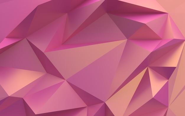 Polygones triangulaires dégradé rose, rendu 3d