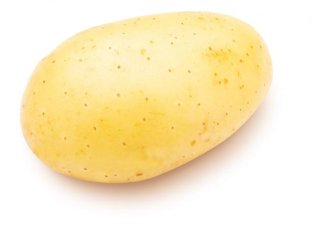Pomme de terre pelée sur fond blanc