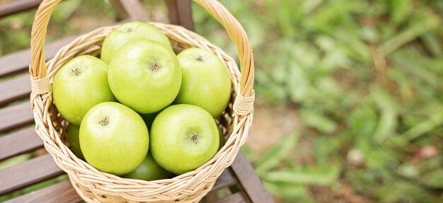 Pomme verte dans un panier en osier sur une chaise de jardin herbe verte période de récolte espace copie