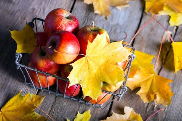 Pommes dans un panier sur une table en bois et feuilles d'érable jaunes