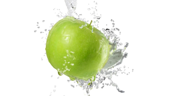 Pommes, éclaboussure, eau, isolé, blanc, fond