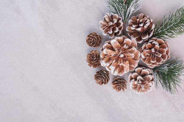 Pommes de pin et branches sur tableau blanc.