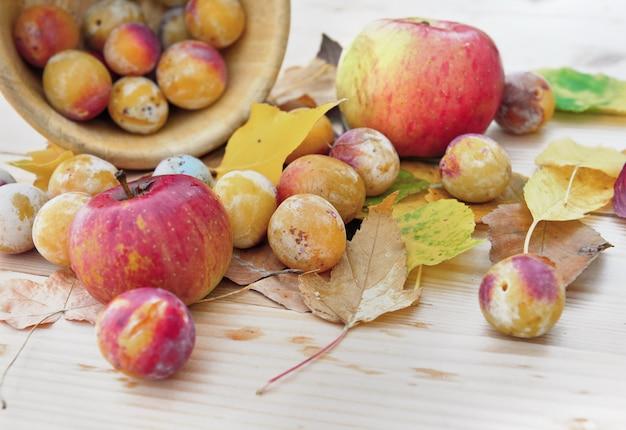 Pommes et prunes sur feuilles d'automne