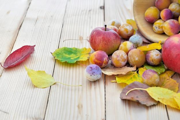 Pommes et prunes fraîches