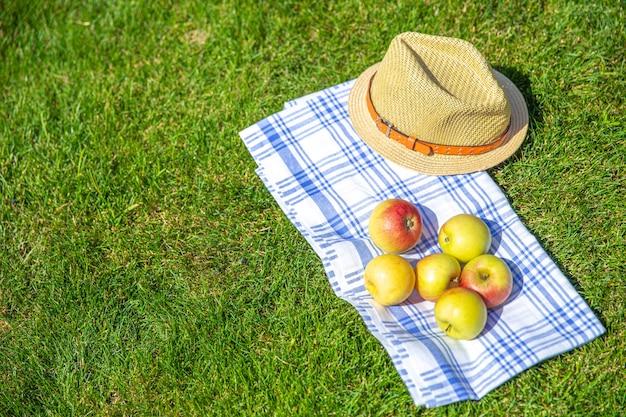 Pommes rouges et jaunes et chapeau de paille sur un drap et une herbe verte dans un parc