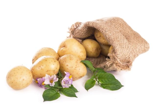 Pommes de terre crues dans un sac en toile de jute isolé sur une surface blanche