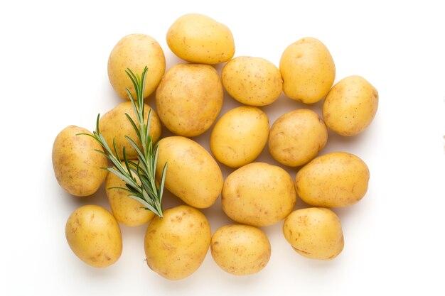 Pommes de terre nouvelles et romarin isolés