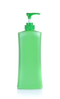 Pompe de distributeur cosmétique, bouteille en plastique verte de lotion, crème, shampooing