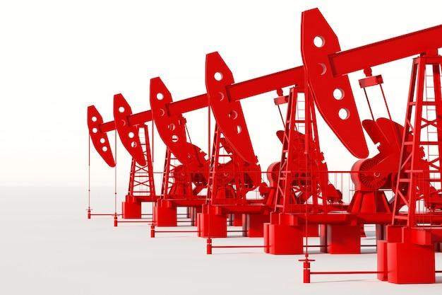 Pompe à huile rouge sur un mur blanc, plate-forme pétrolière, production pétrolière industrielle, prix du pétrole. concept technologique, sources d'énergie fossile, hydrocarbures. copie espace, illustration 3d, rendu 3d.
