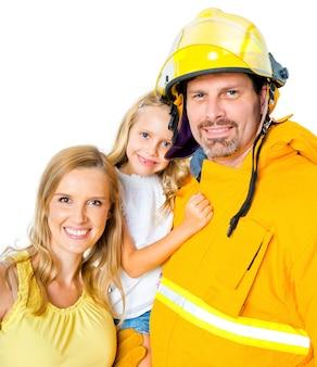 Un pompier avec sa famille