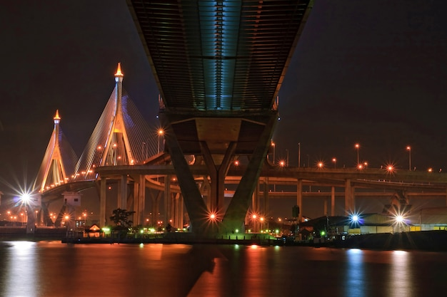 Le pont en anneau industriel brille au crépuscule en thaïlande avec une perspective centrale. le pont enjambe la rivière chaophraya et le port de bangkok