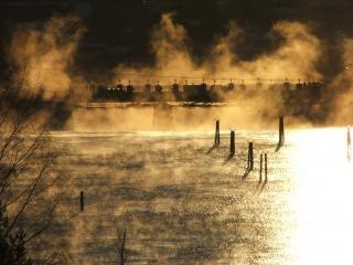 Pont au soleil du matin