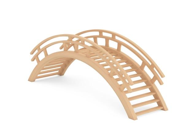 Pont en bois 3d gros plan sur fond blanc