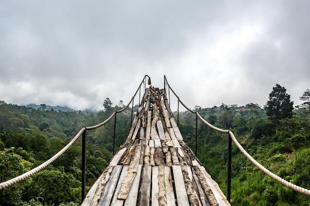 Un pont de bois au-dessus de la jungle qui se brise à la fin, temps de brouillard