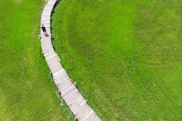 Pont en bois comme chemin à travers le champ d'herbes hautes vertes