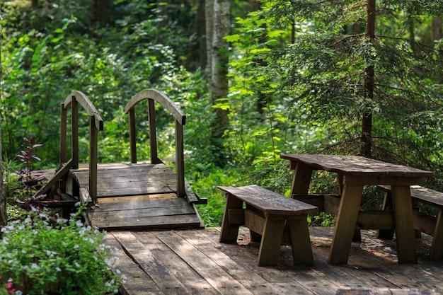 Pont en bois dans la forêt