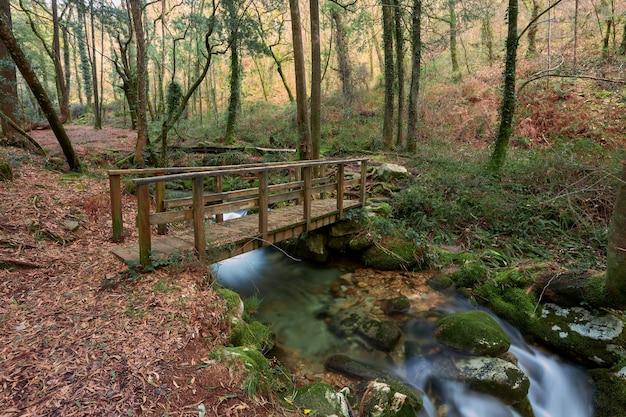 Pont en bois sur la rivière de la fraga, en galice, espagne.