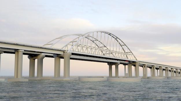 Pont de crimée avec paysage sur le rendu 3d du lever du soleil