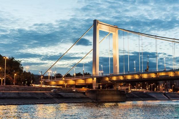 Pont elizabeth à budapest la nuit, hongrie