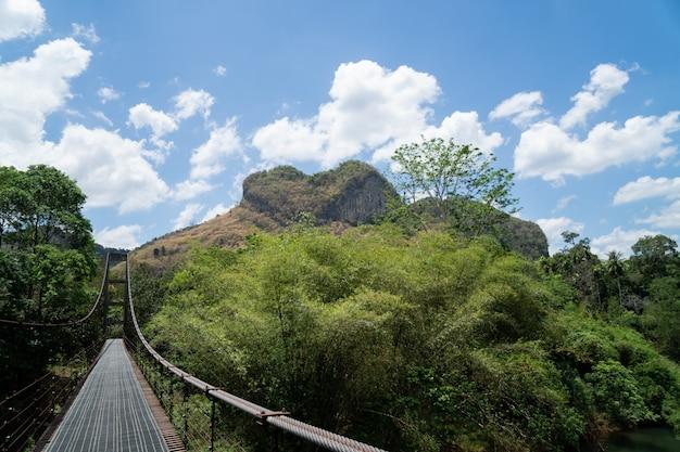 Pont de fer et montagne