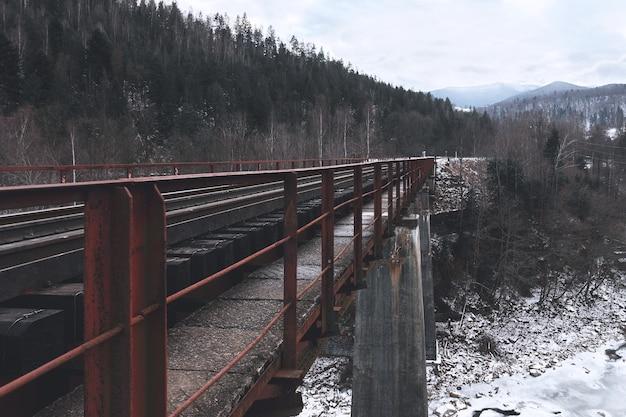 Pont ferroviaire entre les montagnes enneigées. voyages. transport.