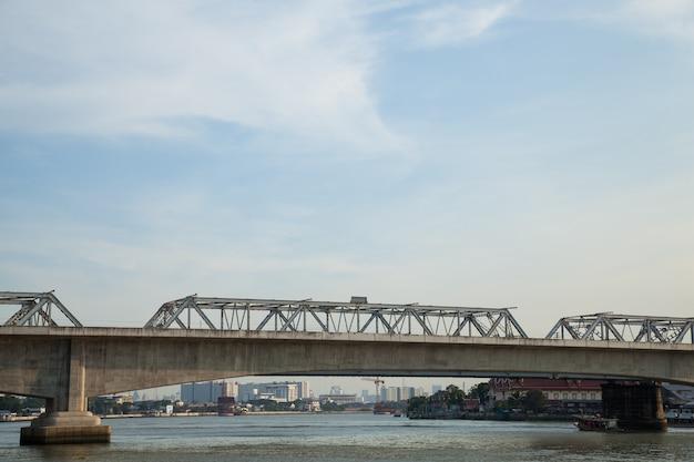 Pont ferroviaire à travers la rivière.