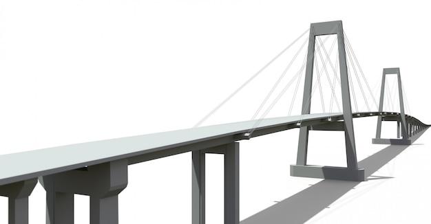 Pont à haubans avec passage supérieur routier. rendu 3d.
