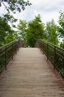 Pont sur le lac dans le parc