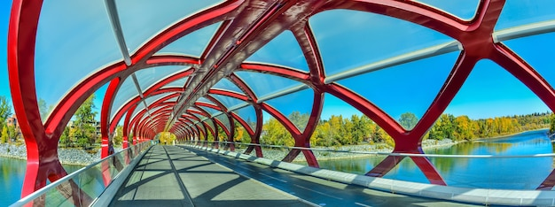 Pont de la paix avec la rivière bow et une partie du centre-ville de calgary au canada