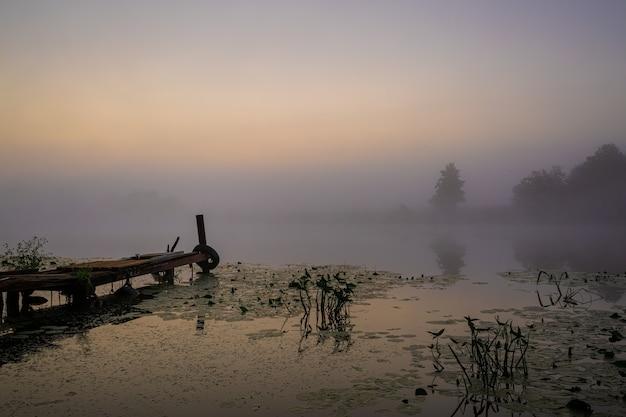 Pont de pêche pour bateau et lis avec des bourgeons jaunes tôt le matin avec un épais brouillard sur la rivière