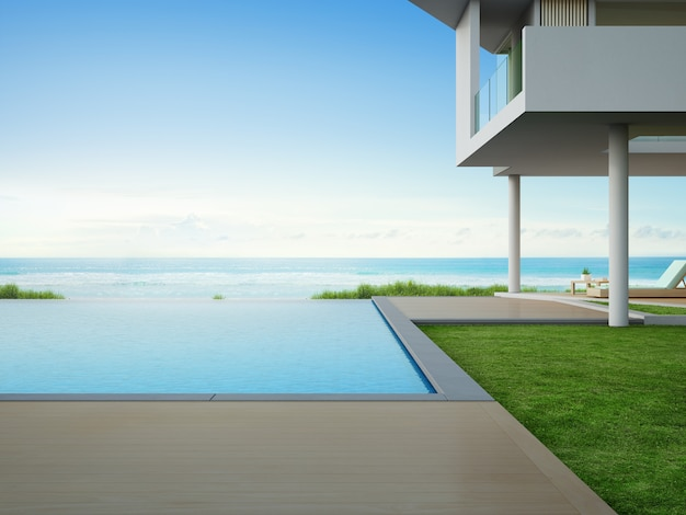 Pont de plancher en bois vide à la maison de vacances ou à l'hôtel.