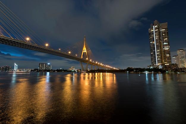 Le pont sur la rivière au crépuscule, la rocade industrail