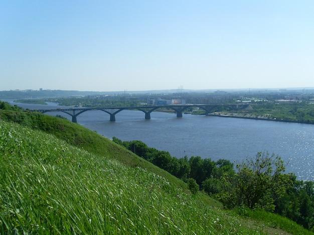Le pont sur la rivière oka. nijni novgorod. russie