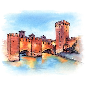 Pont scaliger en pierre médiévale et tour de castelvecchio la nuit, vérone, italie du nord.