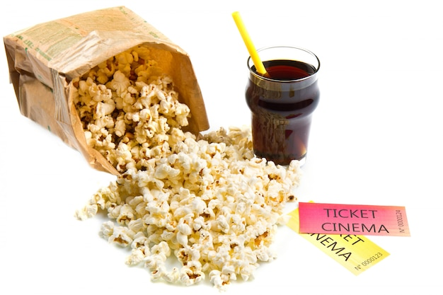 Pop corn et billets de cinéma