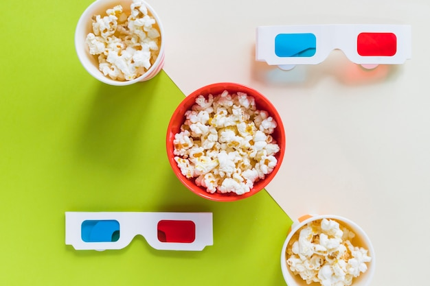 Popcorn et lunettes 3d