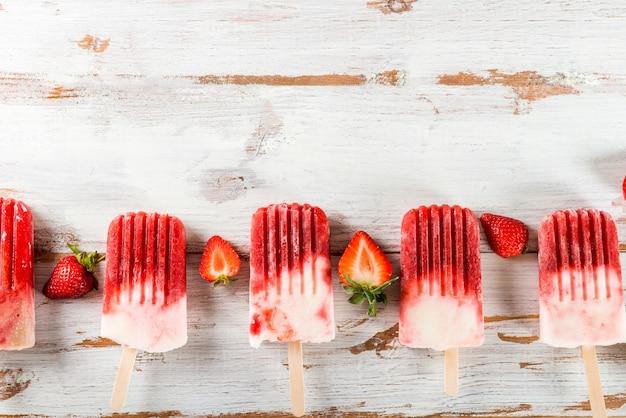 Popsicle aux fraises vegan fait maison