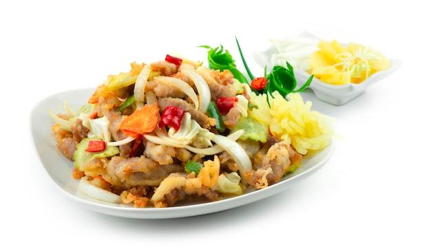 Le porc aigre-doux coréen tangsuyuk est un plat coréen populaire influencé par la chine. porc texturé croquant servi radis marinés et oignon sideview