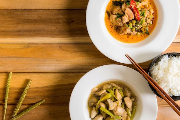 Porc au curry et champignons sautés.