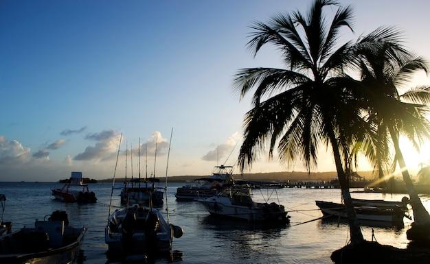 Port commercial de bateaux à moteur en mer noire au coucher du soleil.