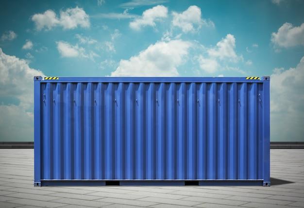 Port de fret, images à tonalité bleue.