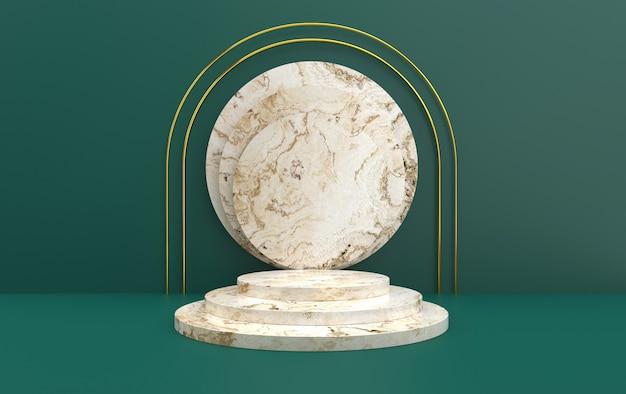 Portail minimaliste avec podium en marbre, rendu 3d, scène avec des formes géométriques, fond vert abstrait minimal, socle rond en marbre blanc, scène ronde étape, cadre doré rond