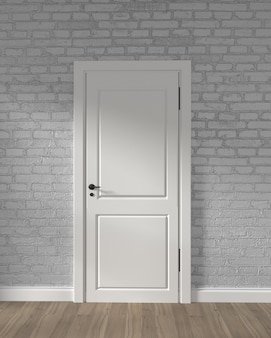 Porte blanche loft moderne et mur de briques blanches sur plancher en bois. rendu 3d